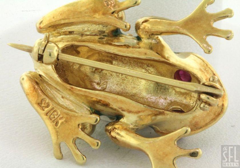 18K GOLD .20CT CABOCHON RUBY EYED GREEN ENAMEL FROG PIN/BROOCH