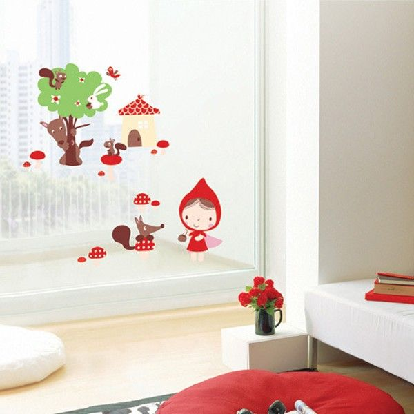Little Red Riding Hood Adhesive Removable Wall Home Decor Accents