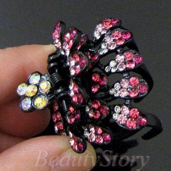 Item  Austrian rhinestone crystal peacock hair claw clip