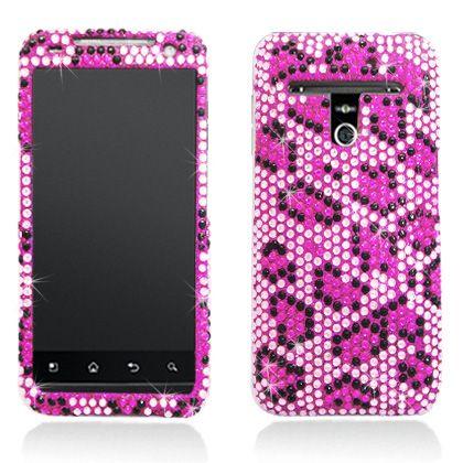 LG Esteem MS910 Metro PCS Pink Leopard Bling Diamond Hard Case Cover