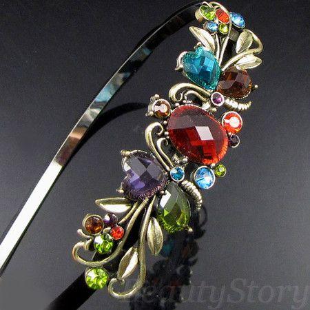 ADDL Item  antiqued rhinestone crystal flower hair band