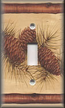 Light Switch Plate Cover   Rustic   Pine Cones With Evergreen Branches